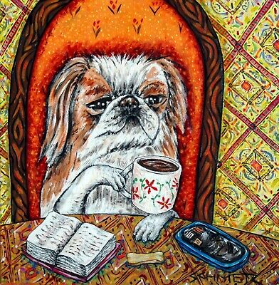 JAPANESE CHIN at the cafe coffee shop dog art tile coaster gift gifts