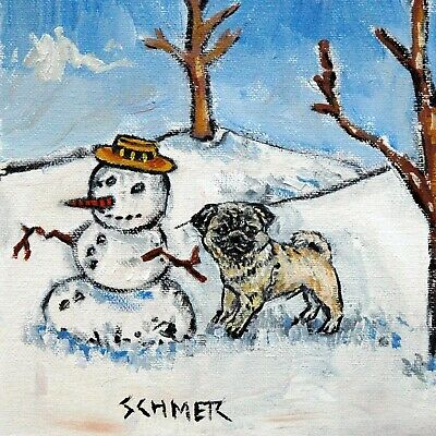 pug dog art tile COASTER gift JSCHMETZ modern folk art snowman