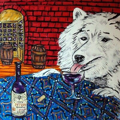 samoyed dog  art tile COASTER gift JSCHMETZ modern folk art wine vineyard