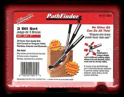 Milwaukee 3 Piece Pathfinder / Forstner Drill Bit Set-Mortises Grooves Channels