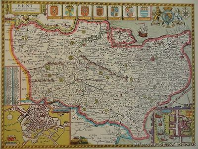 Old Copy Of John Speed Map Of Kent Canterbury Rochester Town Plan 1610