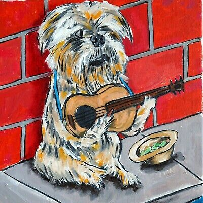 brussels griffon playing guitar dog art tile coaster gift music room