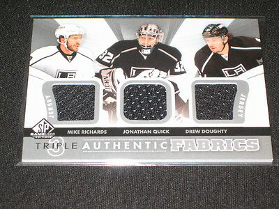 Richards, Quick & Doughty Triple Game Used Jersey Sp Certified Hockey Card Rare