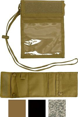 Deluxe Military Neck Photo ID Badge Holder Tri Fold Wallet with Lanyard