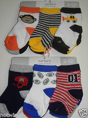 Carter's Infant 3-12 12-24 Mo Baby Boy's 6 Pair of Socks Variety Pick A Pack NWT