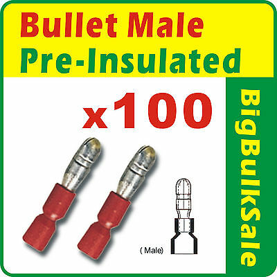 100 x Red Male Bullet Pre-Insulated Crimp Terminals Wiring Connectors 0.5-1.5mm