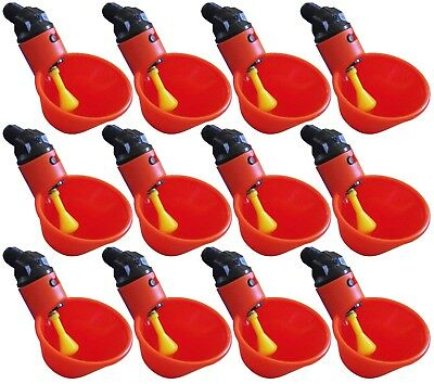 12 Pack Automatic Waterer Drinker Cups Chicken Coop Poultry Chook Bird Water