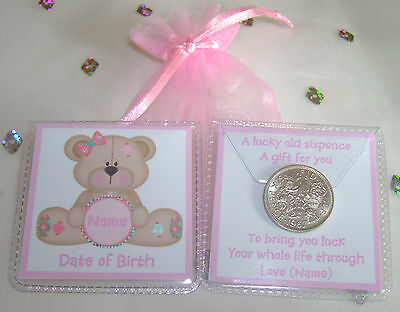 Personalised Lucky Sixpence New Baby Girl Boy Keepsake Gift 4 Designs