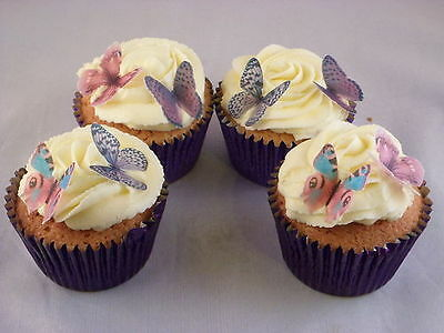 24 x Small Mixed Purple Butterflies Edible Cupcake Toppers Cake Decorations