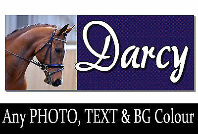 11 inch NAME & PHOTO Horse pony Sign Plaque Personalised stable door tack room