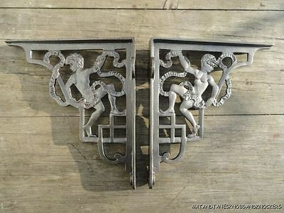 Pair Of Antique Style Cherub Cast Iron Shelf Brackets Cistern Bracket Shelving