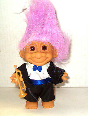 New 5 inch Symphony Troll Doll with Trumpet by Russ New Mint Condition  1992