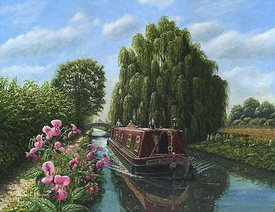 SUPERB ORIGINAL RICHARD HARPUM M.A (Camb) Mary Jane  Canal barge boat  PAINTING
