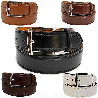 Leather Dress Belt w/Double-Stitched Edge Classic Traditional Casual Plain Solid