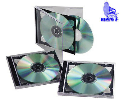 10 Cajas Doble Cd Jewel Para 2 Cd / Dvd - Bandeja Color Negro - Nuevas