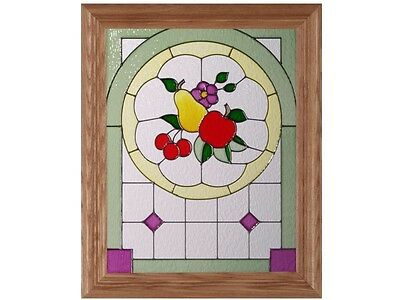 Grapes Fruit & Vine 14.5x18 Hand Painted Stained Art Glass Window Suncatcher