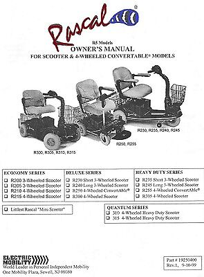ELECTRIC MOBILITY RASCAL R5 Scooters OWNER'S MANUAL + Tech eGuide 9/99-06 pdf