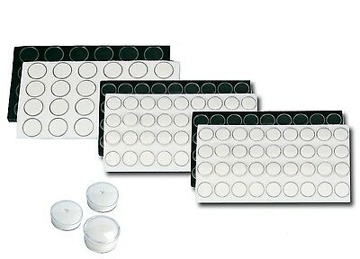 LOT OF GEMSTONE JARS w/FOAM BLACK GEMSTONE ORGANIZER WHITE GEMS DISPLAY INSERTS