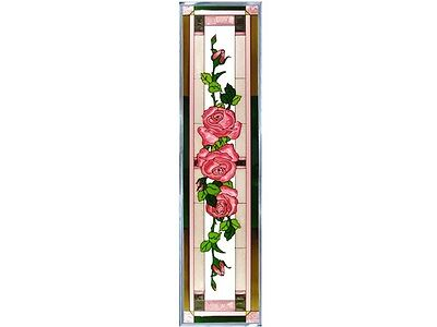 Roses Flower Trio Combination Hand Painted Stained Art Glass Window Suncatcher