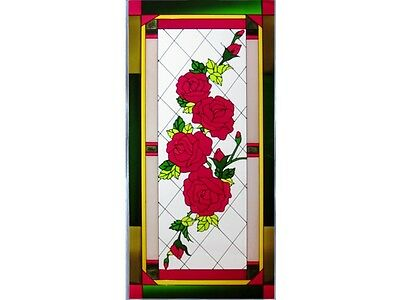 Roses In Bloom Trio Combination Hand Painted Stained Art Glass Window Suncatcher