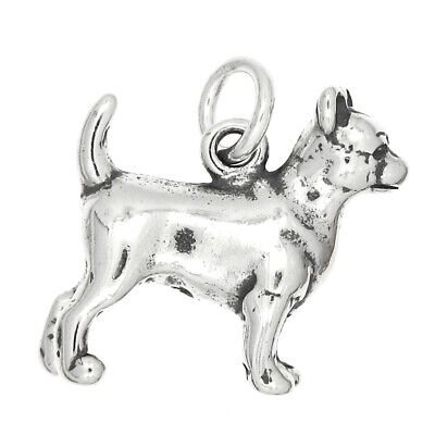 Sterling Silver Oxidized Three Dimensional Border Collie Dog Charm with Thin Singapore Necklace