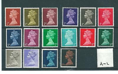 wbc. - GB - MACHIN DEFINITIVES - PRE DECIMAL -A02- 16 VALUES - UNMOUNTED MINT