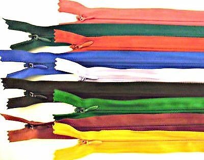 """Zips Invisible/concealed 22"""" 56Cm Nylon X2, Assorted Colours Free P&p"""