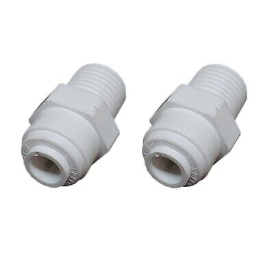 2x Aquaflow Quickfit 12mm Thread To 6mm Push In Tube Water Filter Connector