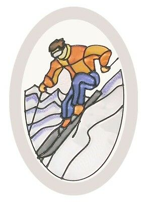 Sports Downhill Skier 6x9 Oval Hand Painted Stained Art Glass Window Suncatcher