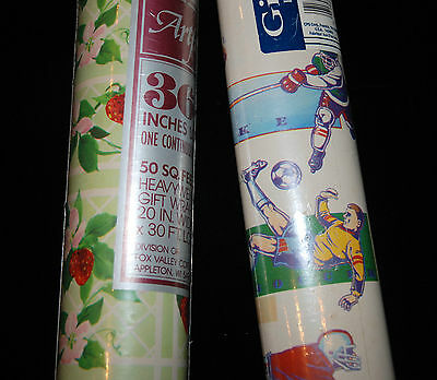 Vintage Wrapping Paper Gift Wrap 2 Unopened Rolls Sports Floral Strawberries