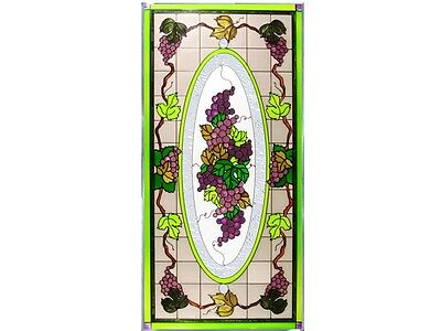 Grapes Fruit & Vine 18x35.5 Hand Painted Stained Art Glass Window Suncatcher