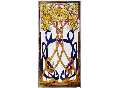 Grapes, Vine, & Ribbon 18x35.5 Hand Painted Stained Art Glass Window Suncatcher