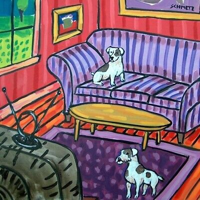 JACK RUSSELL dog art tile COASTER gift JSCHMETZ modern folk art living room TV