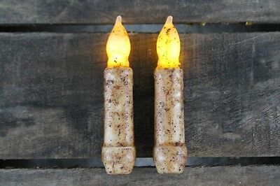 "TWO Primitive Country Burnt Ivory 4.5"" Battery Operated TIMER Taper Candles"