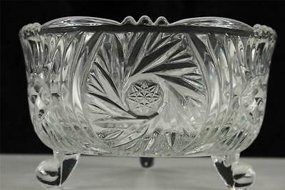 "Vintage Pressed Glass Footed Crystal Hobstar Bowl Candy Dish 3.25"" Tall"