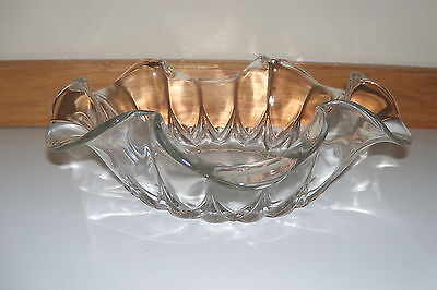 """New Martinsville   *Janice*  11.5"""" Clear Glass Crimped Bowl"""
