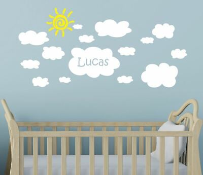 Medium Cloud Wall Stickers With Custom Name Nursery Baby Personalised Clouds