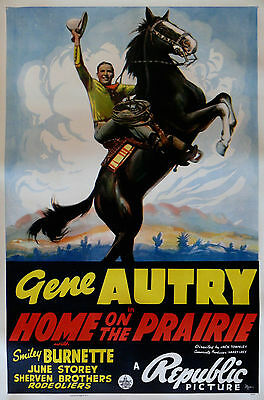 """""""HOME ON THE PRAIRIE"""" ...Gene Autry.. Large Vintage 1939 Movie Poster"""
