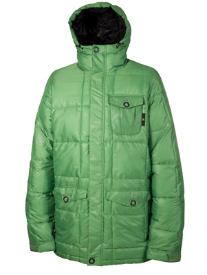 New Mens L1 Mendenhall Down Insulated Snowboard Jacket Large Green