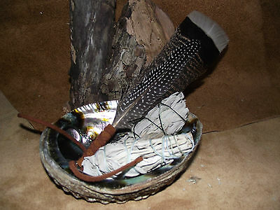 Sage White Smudge Kit 2 Sage Sticks Abalone Shell Feather Fan Shaman Smudging