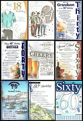 AGE 18 to 80 ~QUALITY ~ BIRTHDAY CARD ~ MALE ~ GREAT DESIGNS