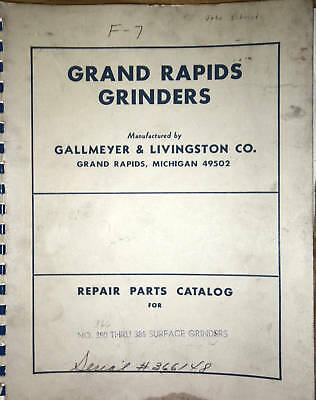 Gallmeyer & Livingston No. 350-386 Surface Grinders Parts Manual _ 350386