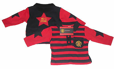 Baby Boys Long Sleeved Top Polo Top Manchester United 3-23 Months