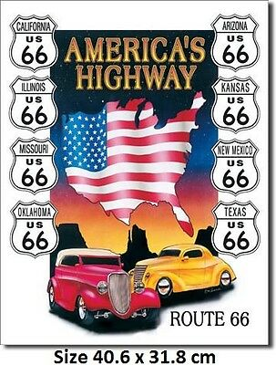 Route 66 America's Highway - Hot Rods Tin Sign 605 Huge Variety Of Signs