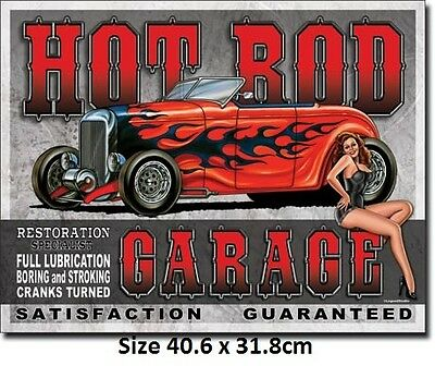 Hot Rod Garage Boring & Stroking Tin Sign 1626 - Made in USA Huge Variety
