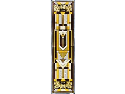 Mission Style Craftsman Trio Hand Painted Stained Art Glass Window Suncatcher