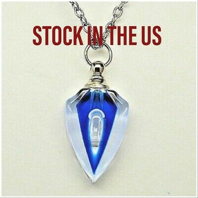 Blue Glass Cremation Deco Style Crystal Urn Necklace Memorial Pendant Pet Too