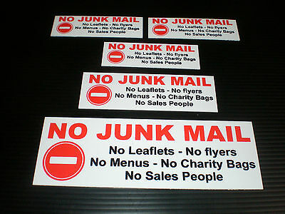 No Junk Mail Leaflets Flyers Menus Bags Sales Ppl Sign Or Sticker Choice Of Size