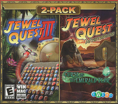 JEWEL QUEST III 3 & MYSTERIES Curse of the Emerald Tear - 2x PC/MAC Games - NEW!