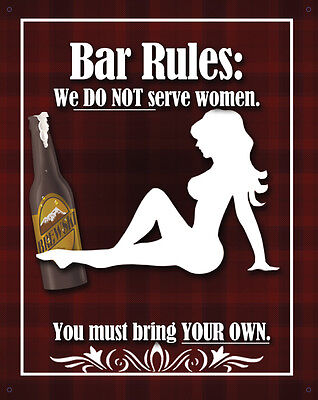 Bar Rules Don't Serve Women Metal Tin Sign 98468  Large Variety - Post Discounts